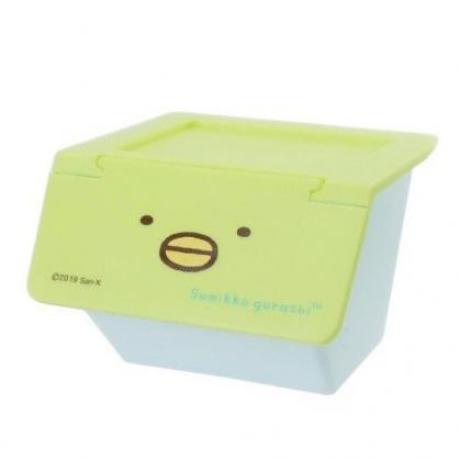 〔小禮堂〕角落生物 企鵝 可堆疊塑膠前開式掀蓋收納盒《綠》置物盒.文具盒