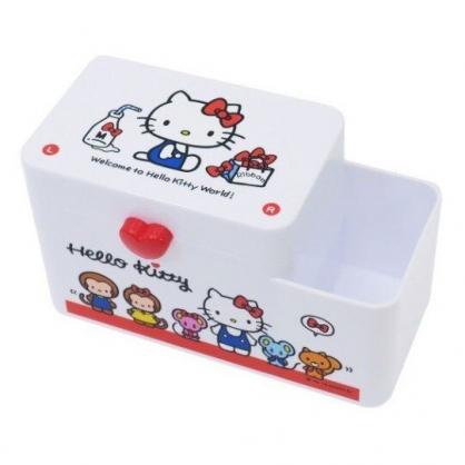 〔小禮堂〕Hello Kitty 塑膠掀蓋雙格筆筒收納盒《紅白.動物》棉花盒.刷具筒