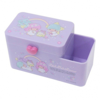 〔小禮堂〕雙子星 塑膠掀蓋雙格筆筒收納盒《紫.戴花圈》棉花盒.刷具筒