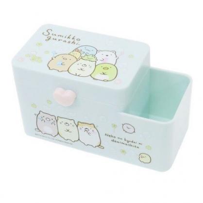 〔小禮堂〕角落生物 塑膠掀蓋雙格筆筒收納盒《綠.吹泡泡》棉花盒.刷具筒