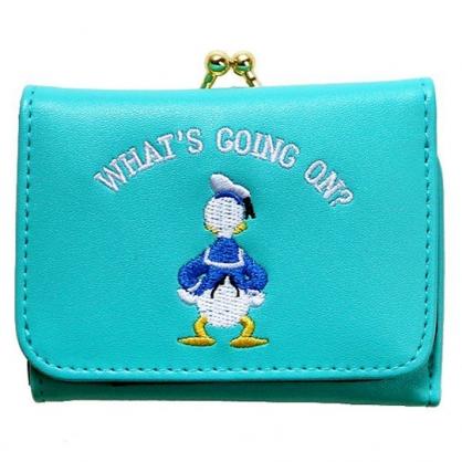 〔小禮堂〕迪士尼 唐老鴨 皮質刺繡口金短夾《綠.背影》零錢包.皮夾.皮包