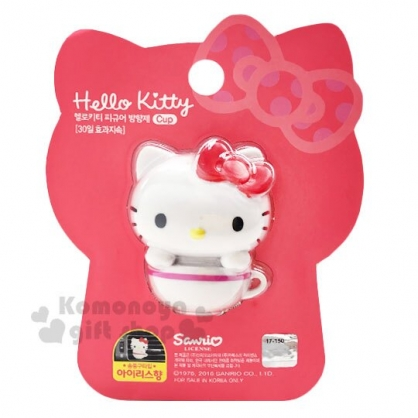 〔小禮堂〕Hello Kitty 迷你咖啡杯造型車用芳香劑《白》鳶尾花香.香氛.空氣清淨