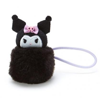〔小禮堂〕酷洛米 毛球造型絨毛彈力髮束《黑紫》髮圈.造型髮束