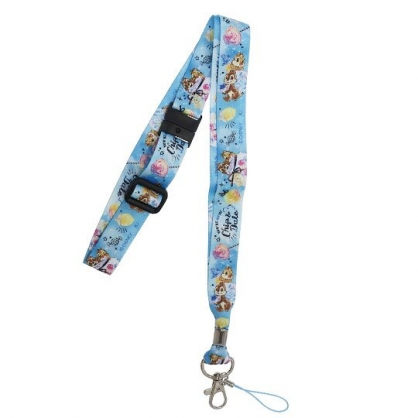 〔小禮堂〕迪士尼 奇奇蒂蒂 多功能頸繩《藍.糖果罐》掛飾.頸掛繩.證件帶