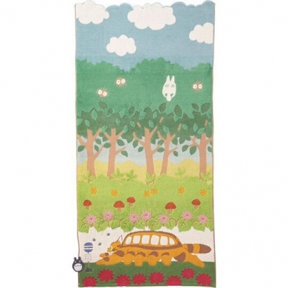 〔小禮堂〕宮崎駿Totoro龍貓 純棉無捻紗大浴巾《黃綠.貓公車》60x120cm.丸真毛巾