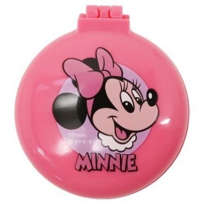 〔小禮堂〕迪士尼 米妮 圓形掀蓋氣墊隨身鏡梳組《粉.大臉》隨身鏡.隨身梳