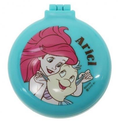 〔小禮堂〕迪士尼 小美人魚 圓形掀蓋氣墊隨身鏡梳組《綠.抱抱》隨身鏡.隨身梳