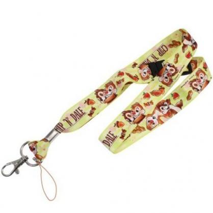 〔小禮堂〕迪士尼 奇奇蒂蒂 多功能頸繩《黃棕.花生》掛飾.頸掛繩.證件帶