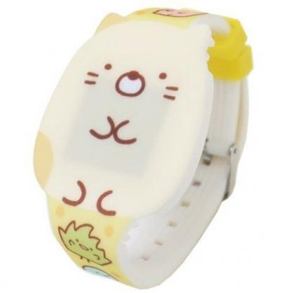 〔小禮堂〕角落生物 貓咪 造型矽膠錶帶電子兒童手錶《黃.坐姿》休閒錶.腕錶.電子錶