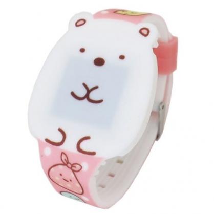 〔小禮堂〕角落生物 北極熊 造型矽膠錶帶電子兒童手錶《白.坐姿》休閒錶.腕錶.電子錶