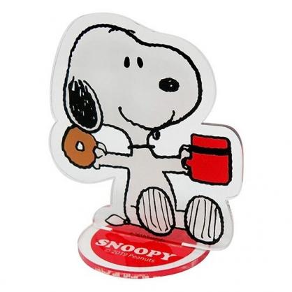〔小禮堂〕史努比 造型車用塑膠可立夾式告示牌《紅白.吃東西》立牌.名片立夾
