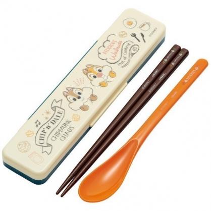 〔小禮堂〕迪士尼 奇奇蒂蒂 日製盒裝兩件式餐具組《米棕.捧臉》匙筷.環保餐具.兒童餐具
