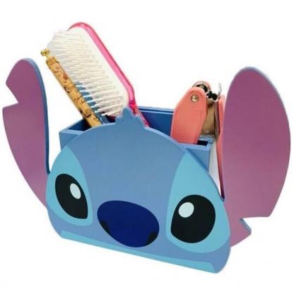 〔小禮堂〕迪士尼 史迪奇 大臉造型木製相框筆筒收納盒《藍》刷具筒.置物筒
