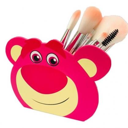 〔小禮堂〕迪士尼 玩具總動員 熊抱哥 大臉造型木製相框筆筒收納盒《桃》刷具筒.置物筒
