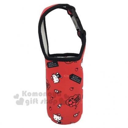 〔小禮堂〕Hello Kitty 潛水布飲料杯套《紅黑.蘋果滿版》手搖杯套.環保杯袋.水壺袋