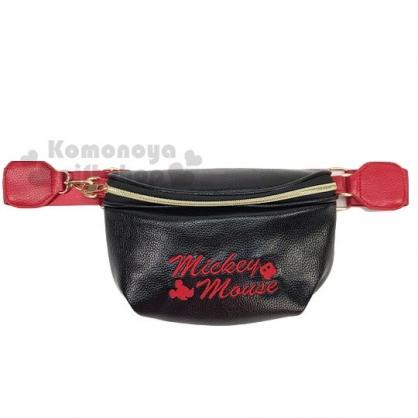 〔小禮堂〕迪士尼 米奇 皮質刺繡拉鍊腰包斜背包《黑紅.文字》隨身包.手拿包