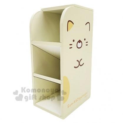 〔小禮堂〕角落生物 貓咪 桌上型木製三層直式收納盒《黃.全身》置物盒.筆筒.刷具筒