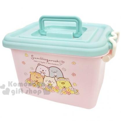 〔小禮堂〕角落生物 方形塑膠雙扣拿蓋收納箱《粉綠.戴花圈》置物箱.玩具箱.手提箱