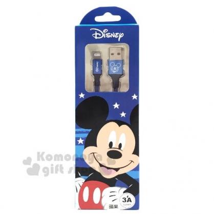 〔小禮堂〕迪士尼 米奇 1M編織傳輸線《藍》Apple專用.充電線.數據線