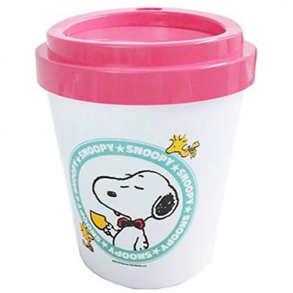 〔小禮堂〕史努比 圓形塑膠平衡蓋垃圾筒《白粉.咖啡杯》收納筒.置物筒