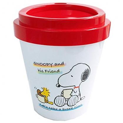 〔小禮堂〕史努比 圓形塑膠平衡蓋垃圾筒《白紅.喝咖啡》收納筒.置物筒
