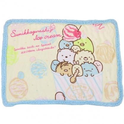 〔小禮堂〕角落生物 圓角毛毯披肩《黃藍.冰淇淋》70x100cm.薄毯.單人毯