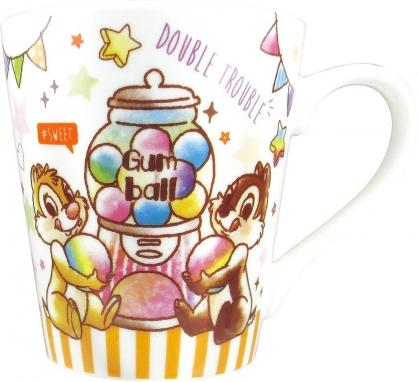 〔小禮堂〕迪士尼 奇奇蒂蒂 陶瓷馬克杯《橘白.扭蛋機》茶杯.咖啡杯