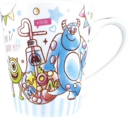 〔小禮堂〕迪士尼 怪獸大學 陶瓷馬克杯《藍白.燈泡飲料》茶杯.咖啡杯
