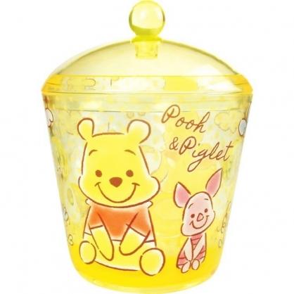 〔小禮堂〕迪士尼 小熊維尼 圓形壓克力拿蓋收納罐《黃.Q版》置物罐.棉花罐.收納盒