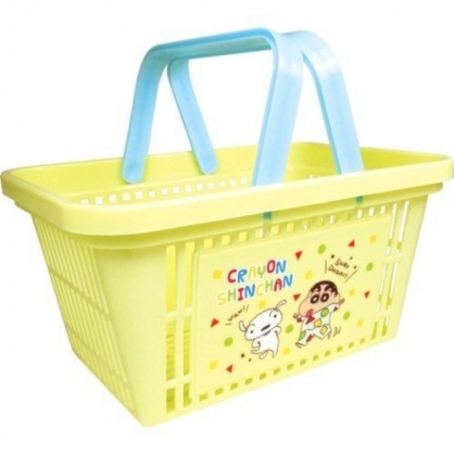 〔小禮堂〕蠟筆小新 塑膠手提置物籃《黃.睡衣》塑膠籃.提籃.菜籃