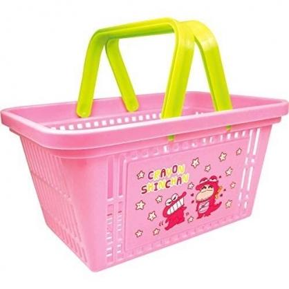 〔小禮堂〕蠟筆小新 塑膠手提置物籃《粉.鱷魚餅乾》塑膠籃.提籃.菜籃
