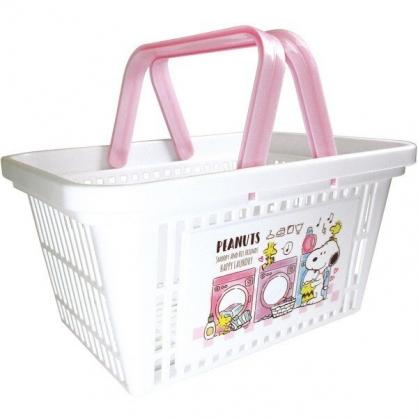 〔小禮堂〕史努比 塑膠手提置物籃《白.洗衣機》塑膠籃.提籃.菜籃