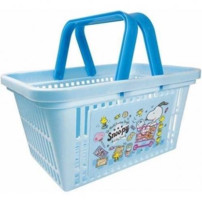 〔小禮堂〕史努比 塑膠手提置物籃《藍.購物車》塑膠籃.提籃.菜籃