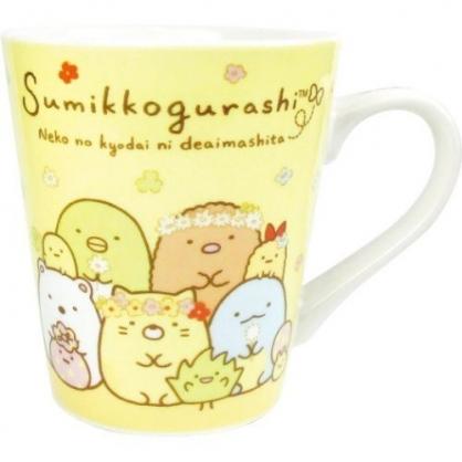 〔小禮堂〕角落生物 陶瓷馬克杯《黃.戴花圈》茶杯.咖啡杯