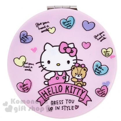〔小禮堂〕Hello Kitty 圓形塑膠隨身雙面鏡《粉.愛心小熊》放大鏡.折鏡