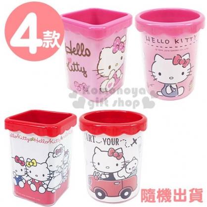 〔小禮堂〕Hello Kitty 桌上型塑膠筆筒收納筒《4款隨機.粉/紅》置物筒.刷具筒