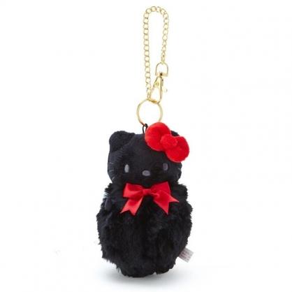 〔小禮堂〕Hello Kitty 毛球造型絨毛玩偶娃娃吊飾《黑紅》掛飾.鑰匙圈.鎖圈