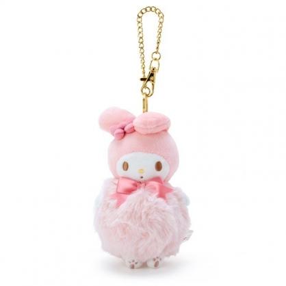 〔小禮堂〕美樂蒂 毛球造型絨毛玩偶娃娃吊飾《粉白》掛飾.鑰匙圈.鎖圈