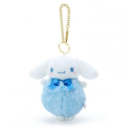 〔小禮堂〕大耳狗 毛球造型絨毛玩偶娃娃吊飾《藍白》掛飾.鑰匙圈.鎖圈