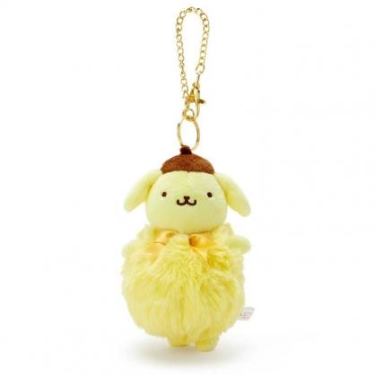 〔小禮堂〕布丁狗 毛球造型絨毛玩偶娃娃吊飾《黃棕》掛飾.鑰匙圈.鎖圈