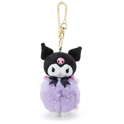 〔小禮堂〕酷洛米 毛球造型絨毛玩偶娃娃吊飾《黑紫》掛飾.鑰匙圈.鎖圈