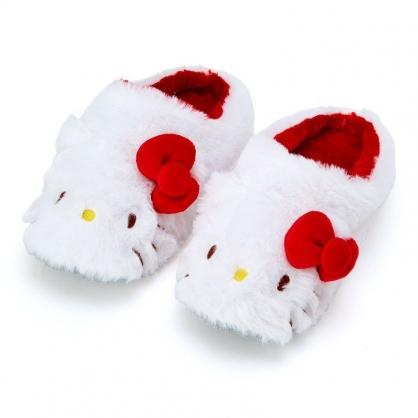 〔小禮堂〕Hello Kitty 全包式造型絨毛室內拖鞋《紅白.大臉》絨毛拖.保暖拖.2019冬日系列