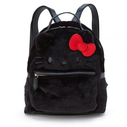〔小禮堂〕Hello Kitty 迷你大臉造型絨毛皮質後背包《黑紅》雙肩包.外出包