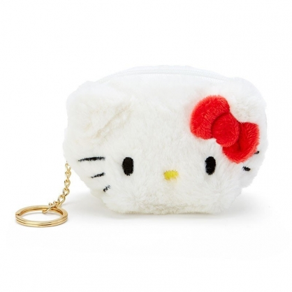 〔小禮堂〕Hello Kitty 大臉造型半圓絨毛吊飾零錢包《紅白》掛飾收納包.鑰匙圈