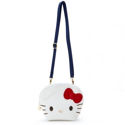 〔小禮堂〕Hello Kitty 大臉造型半圓皮質拉鍊斜背包《白》收納包.手拿包.外出包