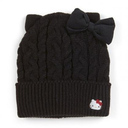 〔小禮堂〕Hello Kitty 成人造型耳朵針織毛線帽《黑.大臉》毛帽.保暖帽.2019冬日系列