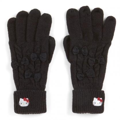 〔小禮堂〕Hello Kitty 成人刺繡針織觸控手套《黑.大臉》保暖手套.2019冬日系列