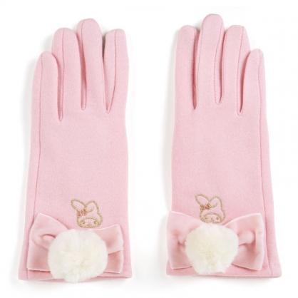 〔小禮堂〕美樂蒂 成人造型棉質觸控手套《粉.毛球》保暖手套.2019冬日系列