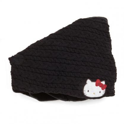 〔小禮堂〕Hello Kitty 成人絨毛針織保暖圍脖圍巾《黑.大臉》脖圍.2019冬日系列