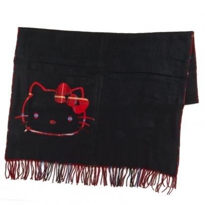 〔小禮堂〕Hello Kitty 成人短絨流蘇披肩圍巾《黑紅.大臉》206x76cm.脖圍.2019冬日系列